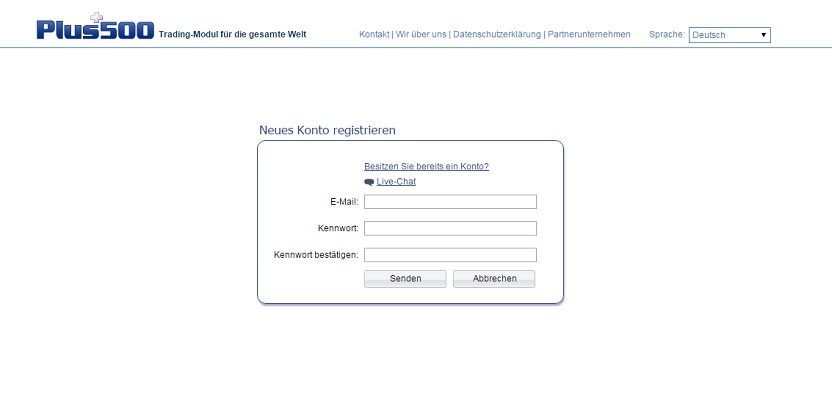 neues konto registrienen